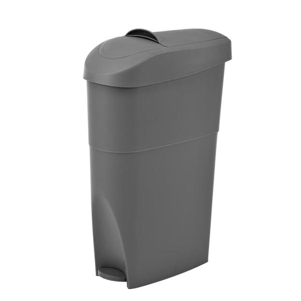 Alpine Industries Gray Step On Waste Basket Sanitary Napkin Receptacle 451 19 Gry The Home Depot