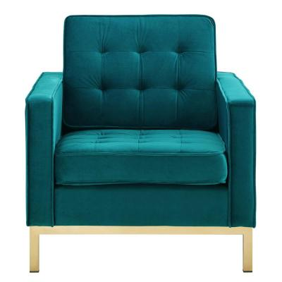 Loft Gold Teal Stainless Steel Performance Velvet Armchair