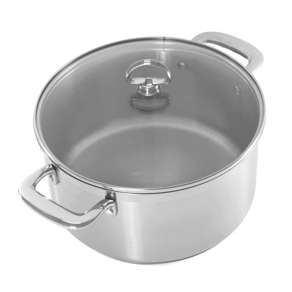 Induction 21 Steel 6 Qt. Casserole with Glass Lid in Stainless