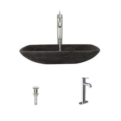 Stone Vessel Sink in Gray Limestone with 718 Faucet and Pop-Up Drain in Chrome