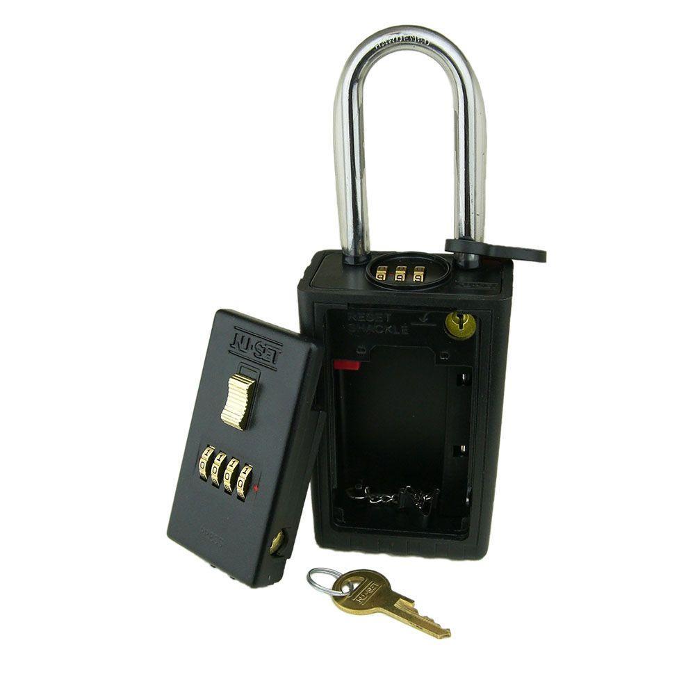 4-Number Combination Lockbox Key Storage Lock Box with Combination Locking Shackle