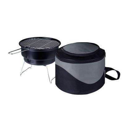 10 in.Caliente Round Portable Cooler/Charcoal Grill in Black