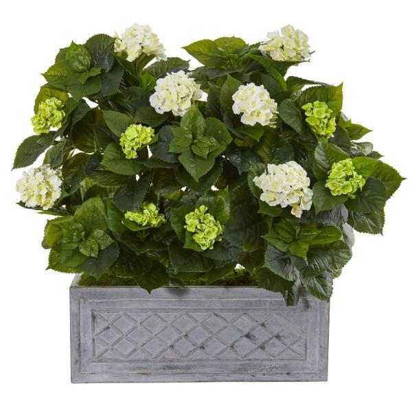 Nearly Natural Indoor 33 in. Hydrangea Artificial Plant in Stone Planter