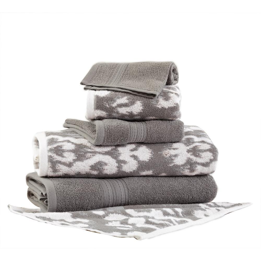 Ikat Damask 6-Piece Cotton Bath Towel Set in Gray