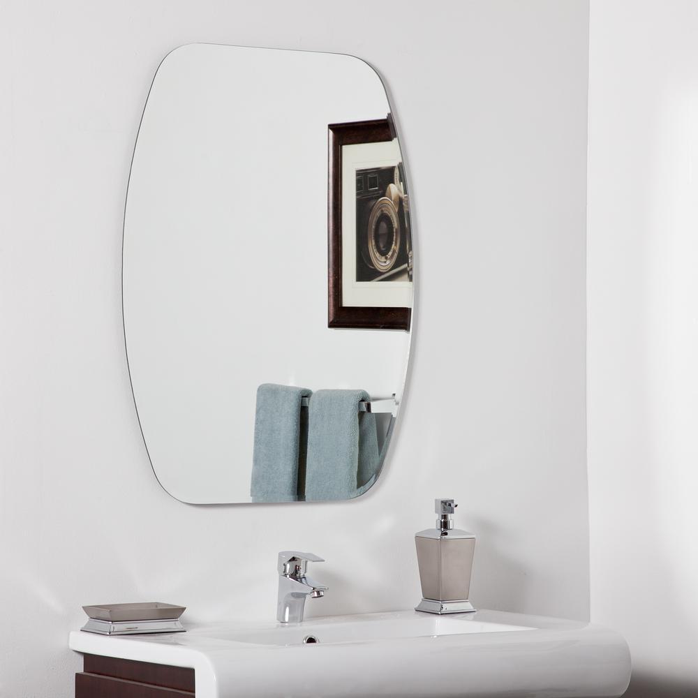 24 in. W x 32 in. H Frameless Oval Beveled Edge Bathroom Vanity Mirror in Silver