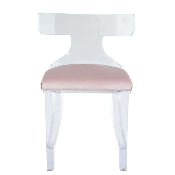 Acme Furniture Bradley Light Pink Velvet and Clear Acrylic Accent Chair