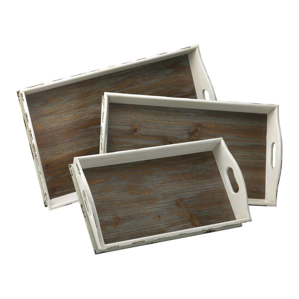 Filament Design Prospect 4.25 in. x 26.75 in. Distressed White and Gray Trays (Set of 3)