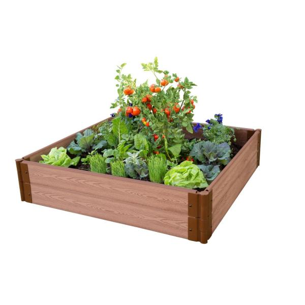 1 in. Profile Classic Sienna 4 ft. x 4 ft. x 11 in. Raised Garden Bed