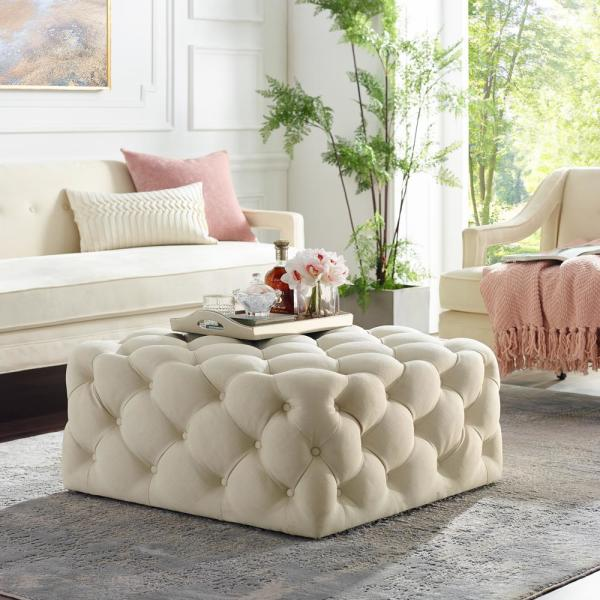 Coffee Table Ottoman.Lester Cocktail Table Ottoman Cream White Linen Tufted Allover Square Caster Leg