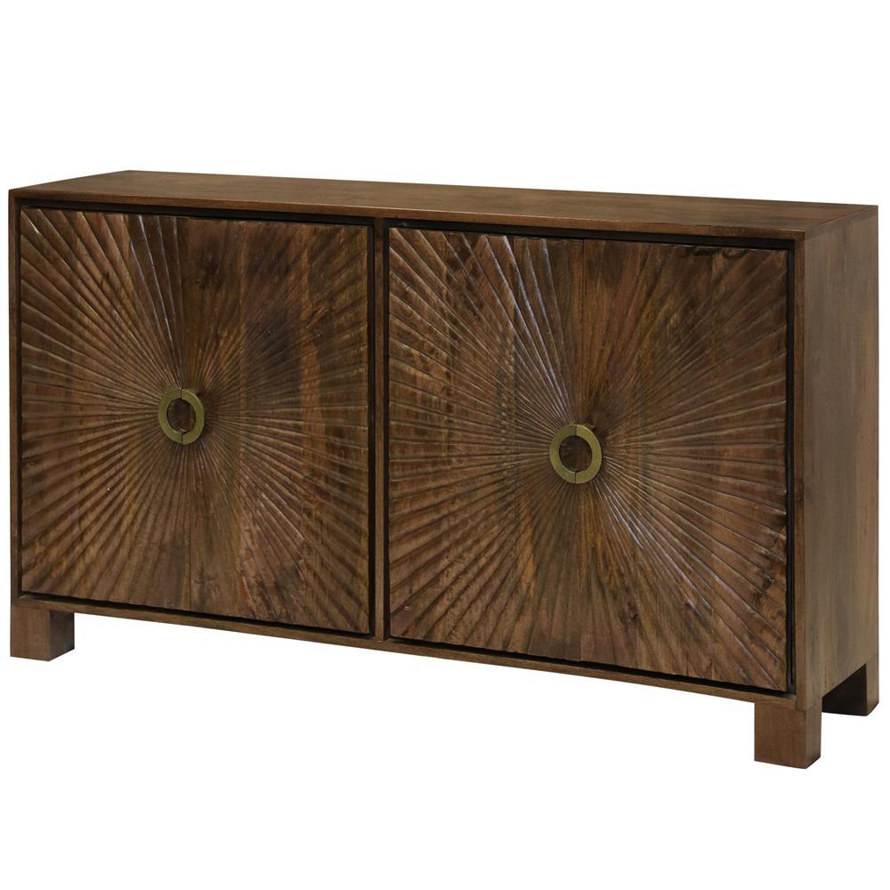 Starburst Natural Wood Embossed 4-Door Cabinet