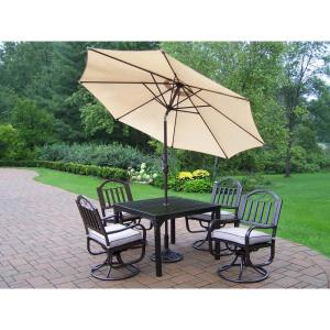 7-Piece Aluminum Outdoor Dining Set with Tan Cushions and Beige Umbrella by