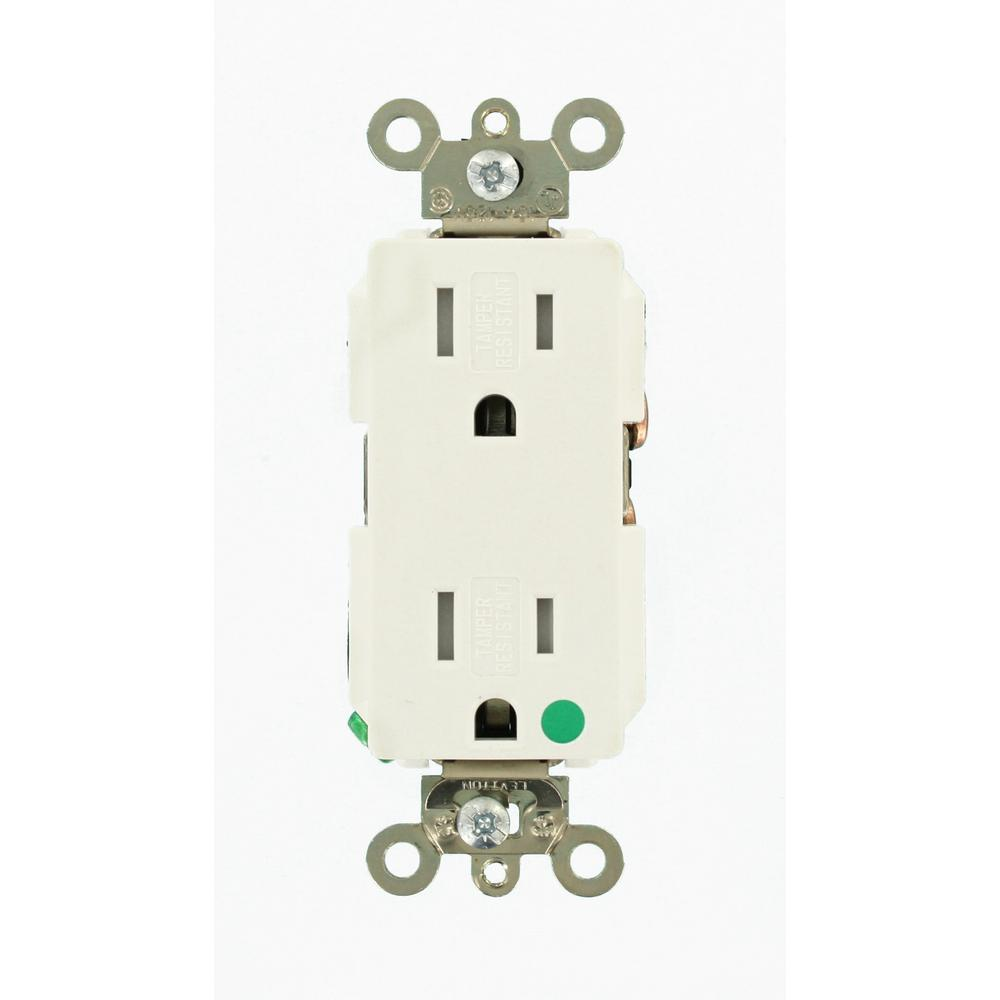 Leviton Decora Plus 15 Amp Hospital Grade Extra Heavy Duty Tamper 4way Switch Whiter58056042ws The Home Depot Resistant Self Grounding Duplex Outlet