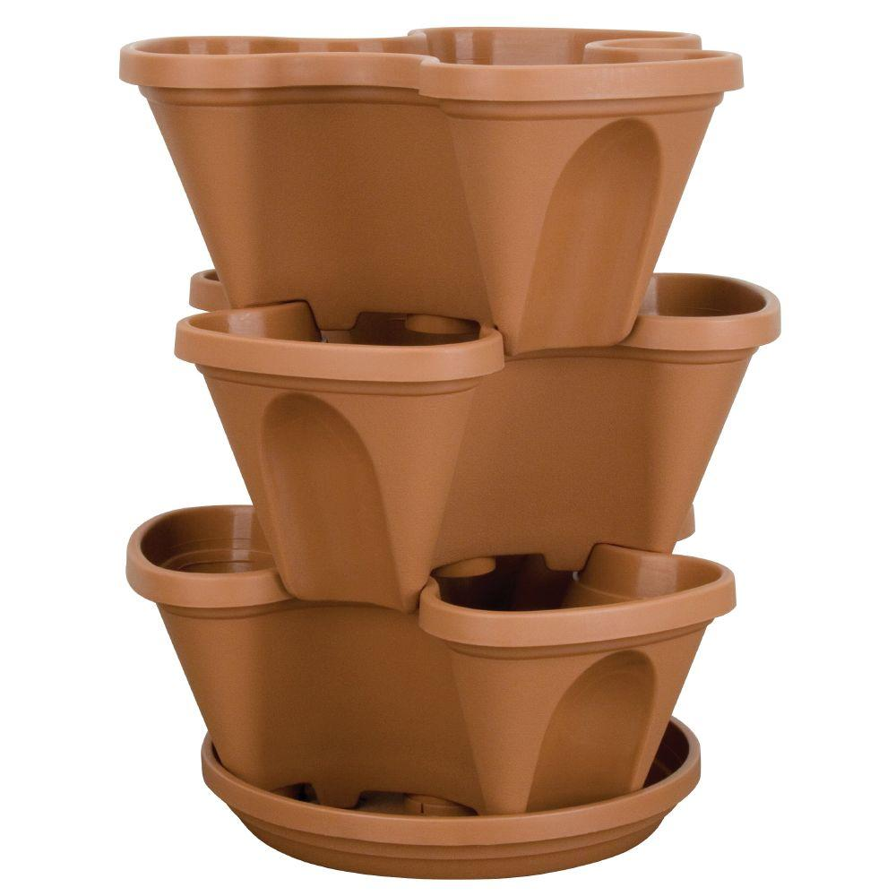 stack-a-pot resin stackable planter-rzjmin0 - the home depot