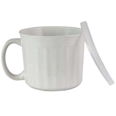 Soup Traveler 19 oz. White Stoneware Cup with Lid