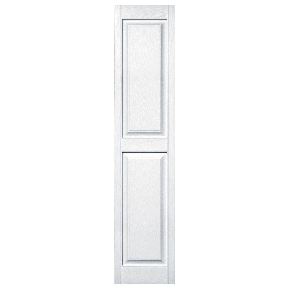 Builders Edge 15 in. x 67 in. Raised Panel Vinyl Exterior Shutters Pair in #001 White