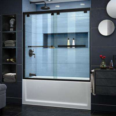 Encore 60 in. x 58 in. Semi-Frameless Sliding Tub Door in Satin Black