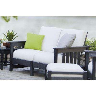 Mission Black Plastic Patio Settee with Sunbrella Bird's Eye Cushions