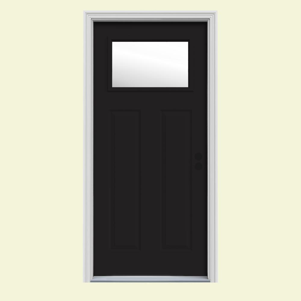 JELD-WEN 32 in. x 80 in. 1 Lite Craftsman Black w/White Interior Steel Prehung Left-Hand Inswing Front Door w/Brickmould