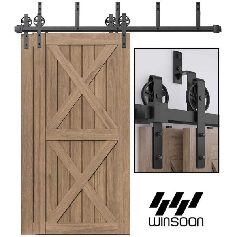 10FT Bypass Sliding Barn Door Hardware Kit Double Door