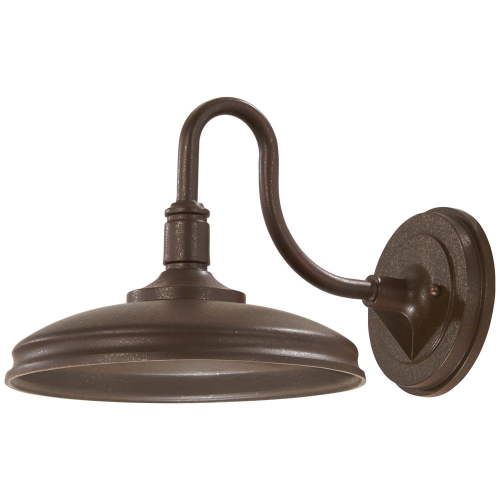Harbison 1-Light Textured Bronze Outdoor Integrated LED Wall Mount Lantern