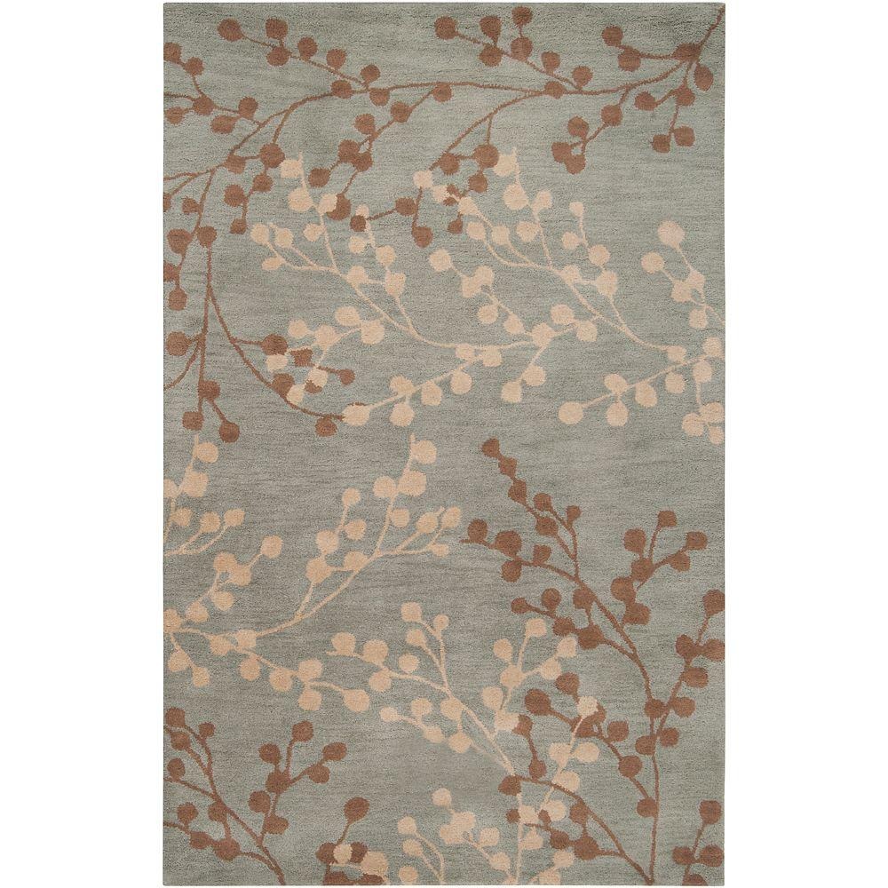 Home Decorators Collection Blossoms Blue 3 ft. 6 in. x 5 ft. 6 in. Area Rug