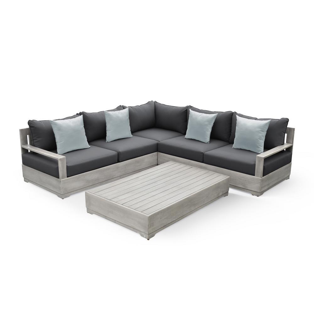 Beranda II Eucalyptus Wood Outdoor Sectional with Gray Cushions