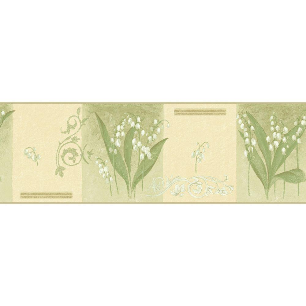 The Wallpaper Company 8 in. x 10 in. Green Lily of The Valley Border Sample-DISCONTINUED