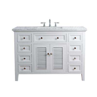 48 in. Genevieve Single Sink Vanity in White with Marble Vanity Top in Carrara with White Basin