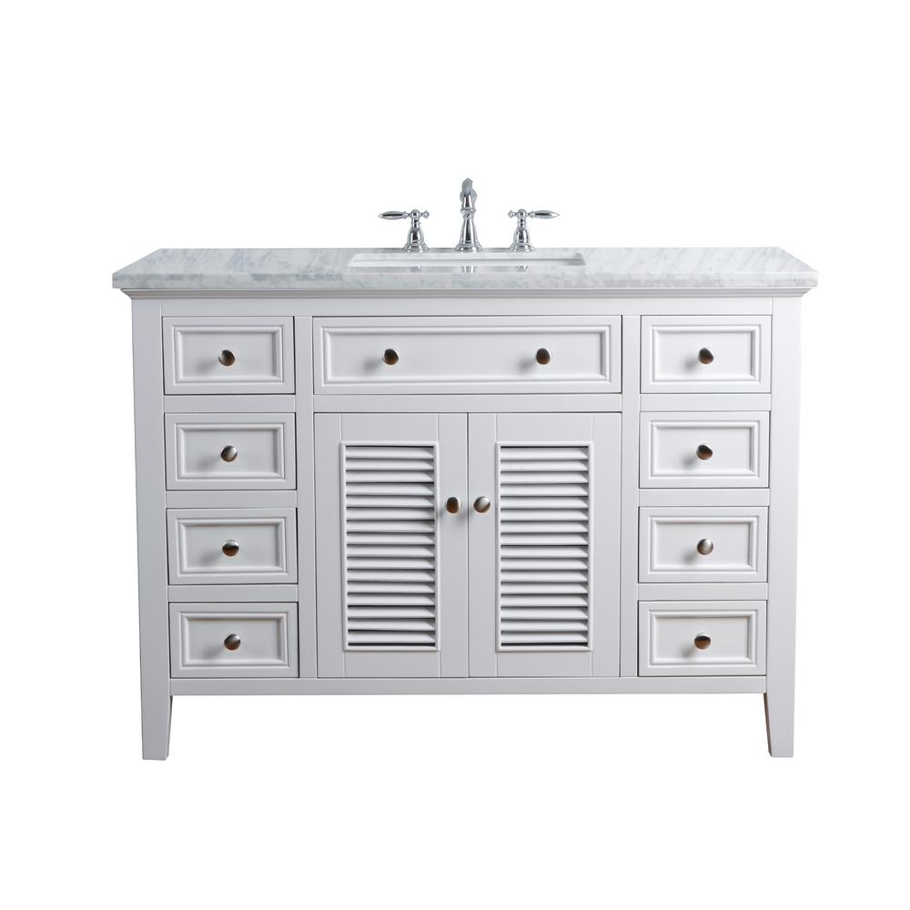 Stufurhome 48 In Genevieve Single Sink Vanity In White With Marble