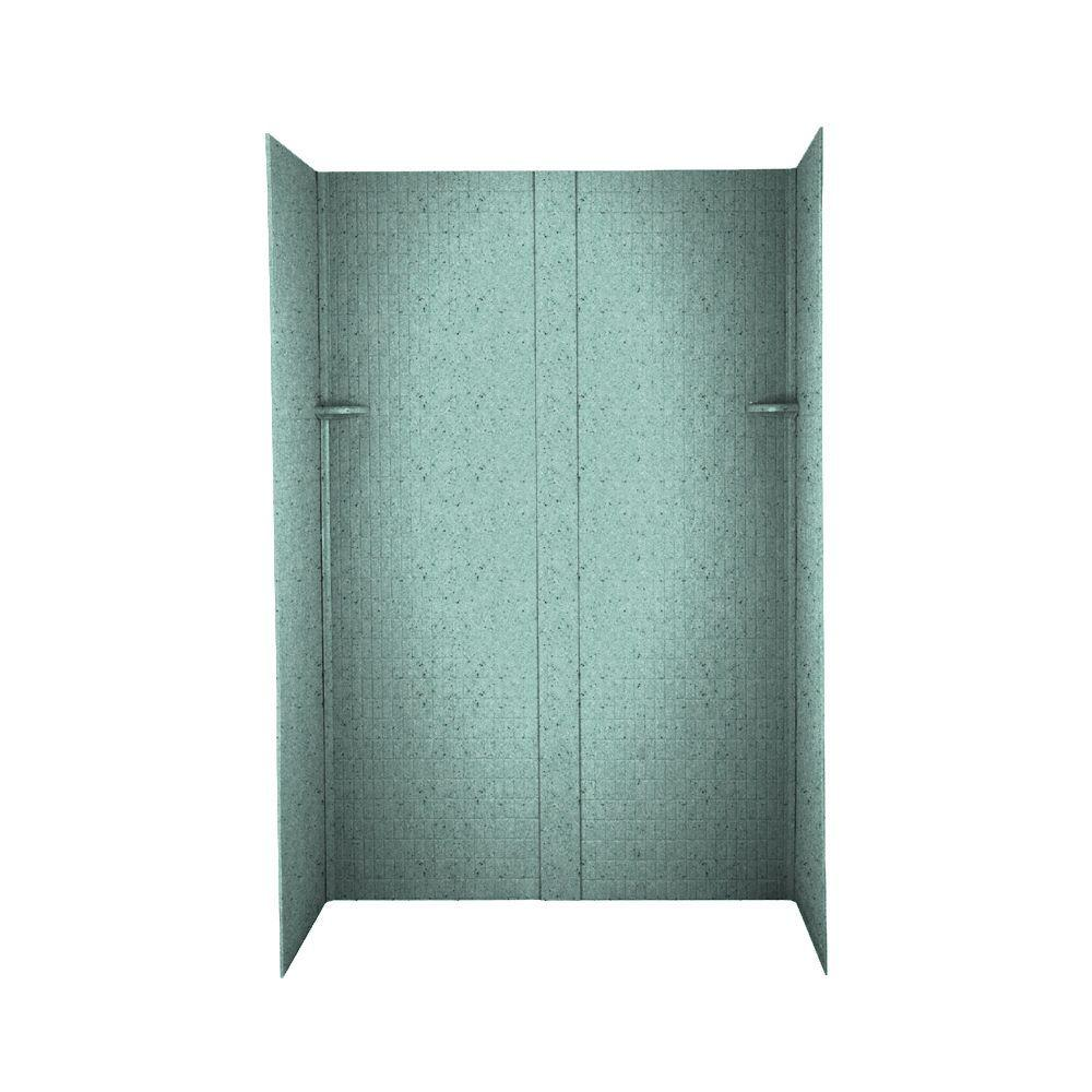Swanstone Tangier 32 in. x 60 in. x 72 in. Three Piece Easy Up Adhesive Shower Wall Kit in Tahiti Evergreen-DISCONTINUED