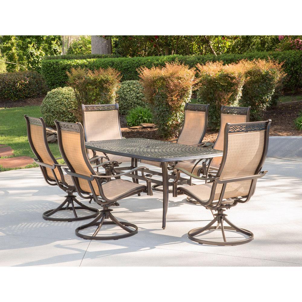 Manor 7-Piece Aluminum Rectangular Outdoor Dining Set with Cast-Top Table