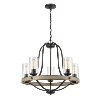 Prescott 5-Light Anvil Iron Wagon Wheel Chandelier with Clear Seeded Glass Shades