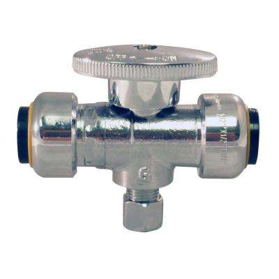 1/2 in. Push-to-Connect x 1/2 in. Push-to-Connect x 1/4 O.D. Compression Chrome-Plated Brass Compression Stop Tee Valve