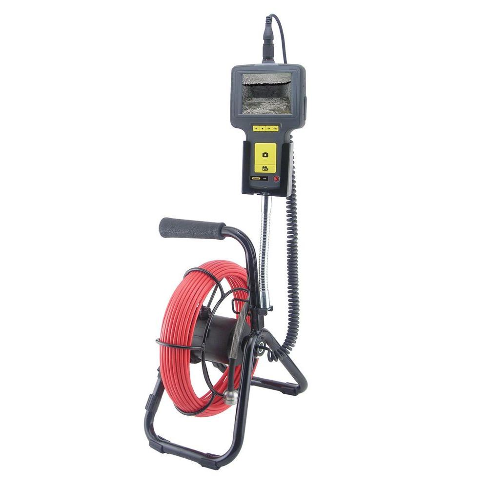 General Tools Pipe and Duct Video Inspection Camera with Industrial Duty 72 ft. Probe and Reel