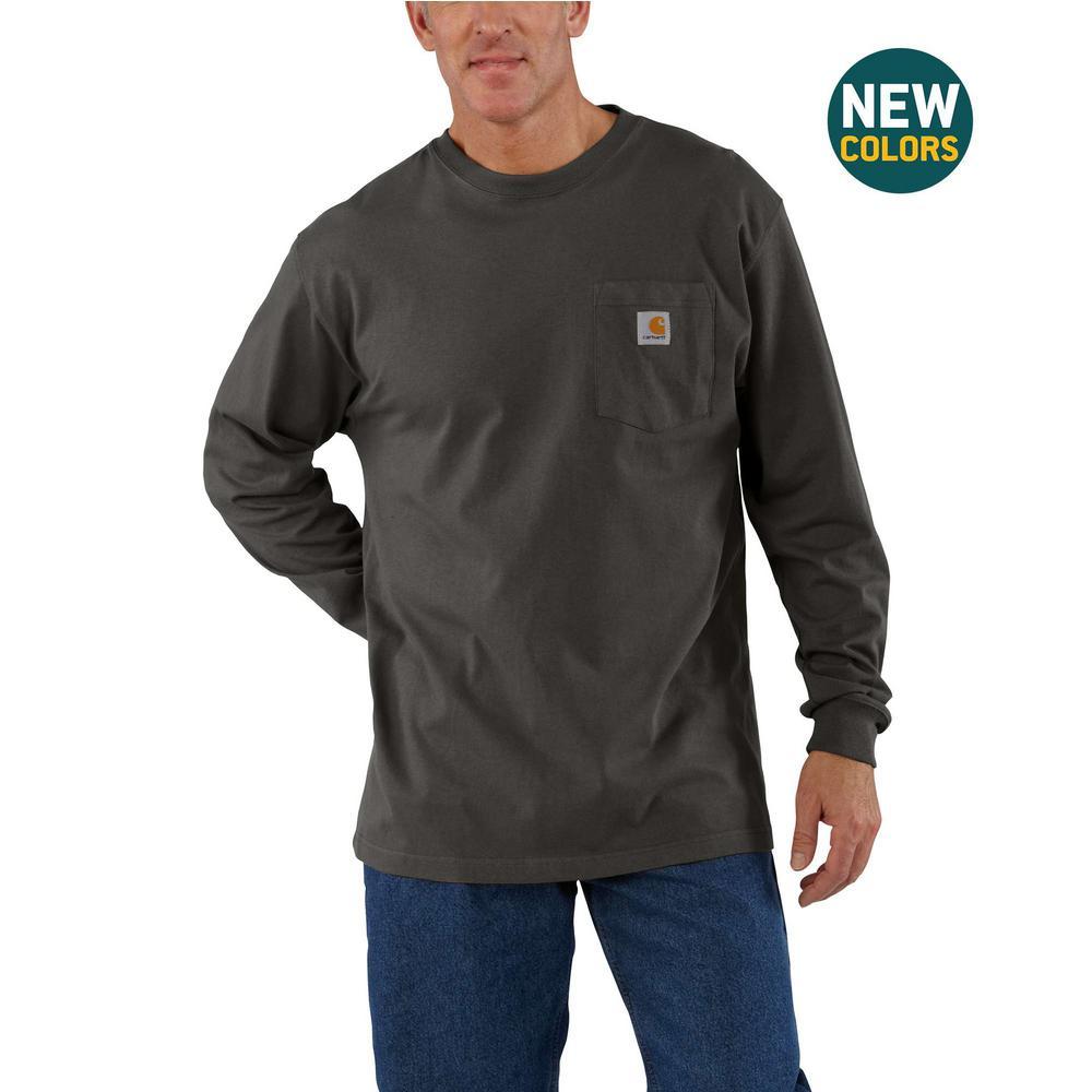 Men's 3 XL Peat Cotton Workwear Pkt LS T Shrt
