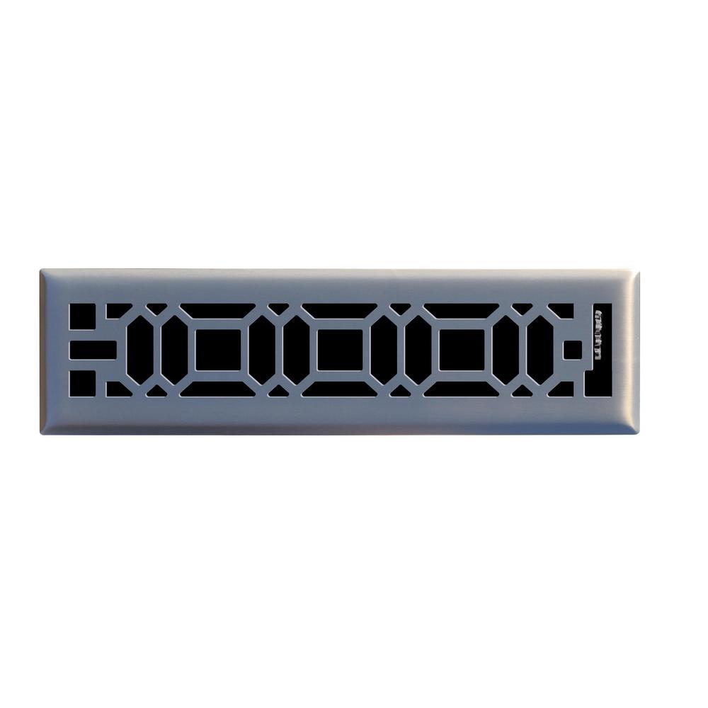 Oriental 2 in. x 12 in. Steel Floor Register in Brushed Nickel