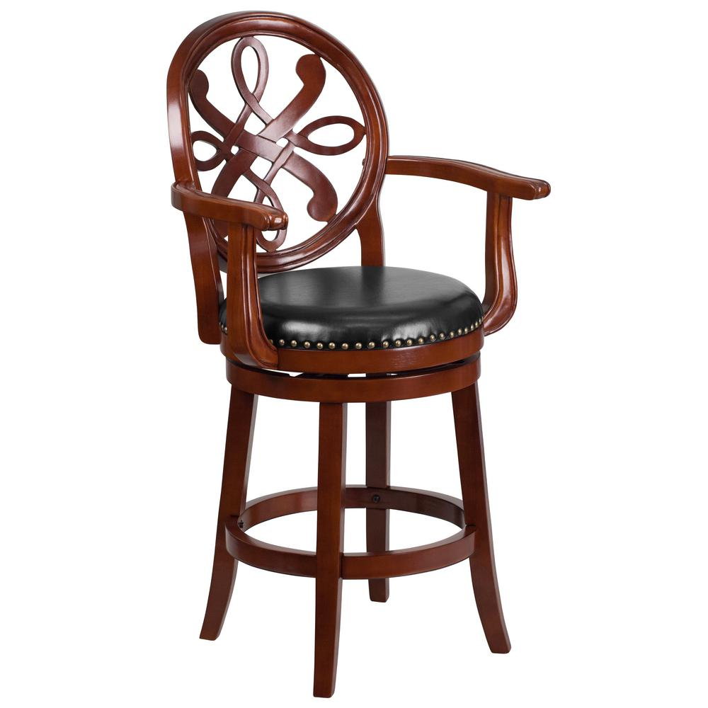 26.5 in. Black and Cherry Swivel Cushioned Bar Stool