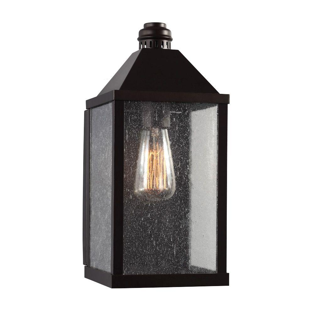 Feiss Lumiere 7 In W X 14 H 1 Light Oil Rubbed Bronze Metal Outdoor Wall Lantern Sconce With Clear Seeded Gl Panels