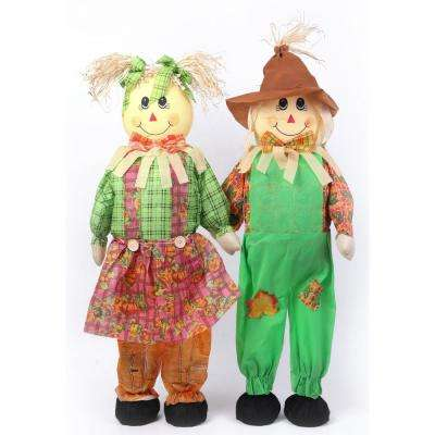 36 in. Standing Scarecrow Sister and Brother Set