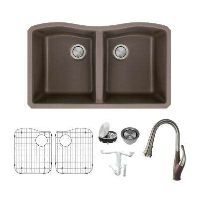 Aversa All-in-One Undermount Granite 32 in. Equal Double Bowl Kitchen Sink with Faucet in Espresso