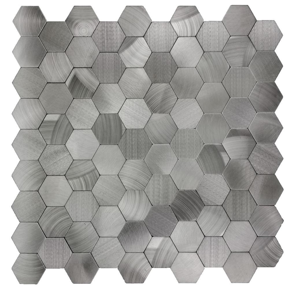 "Mosaic 1"" x 1"" Hexagon Silver Gray Brushed Aluminum Peel & Stick Decorative Bathroom Wall Tile Backsplash (1 Sheet)"