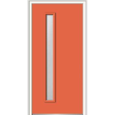 30 in. x 80 in. Viola Clear Low-E Glass Left-Hand 1 Lite Midcentury Painted Steel Prehung Front Door w/ 4-9/16 in. Frame