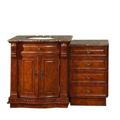 53 in. W x 22 in. D Vanity in Cherry with Granite Vanity Top in Baltic Brown with Ivory Basin