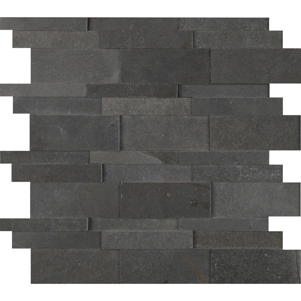 Neptune 3D 12 in. x 12 in. x 10mm Honed Basalt Mesh-Mounted Mosaic Tile (10 sq. ft. / case)