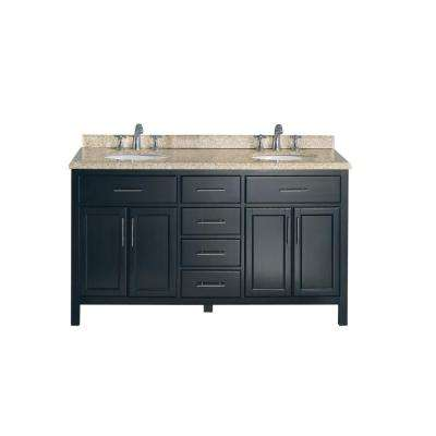Malibu 60 in. W Vanity in Espresso with Granite Vanity Top in Beige with White Basin