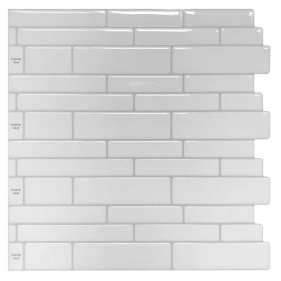 11.6 in. x 11.6 in. x 0.1 in. Vinyl Peel and Stick Backsplash Tile in White (10-Pack)