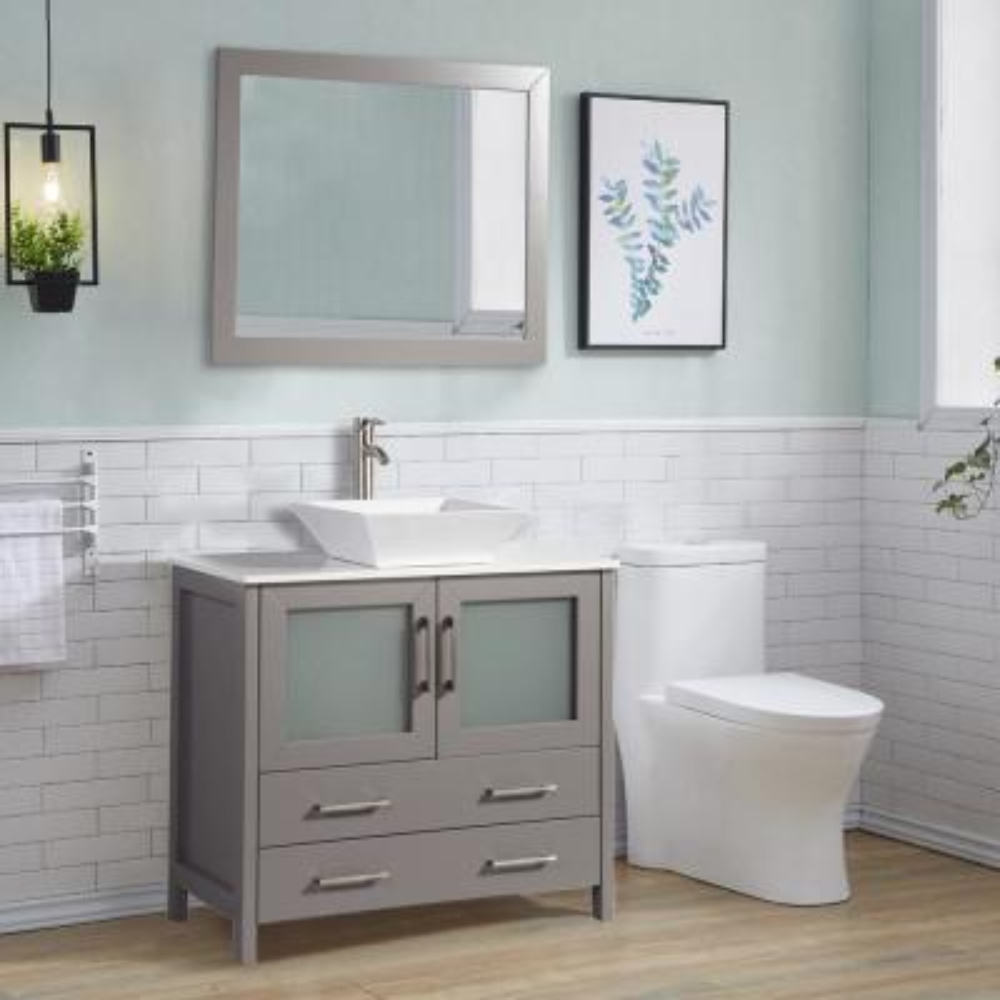 36 in. W x 18.5 in. D x 36 in. H Bathroom Vanity in Grey with Single Basin Vanity Top in White Ceramic and Mirror