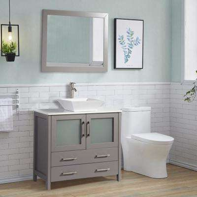 36 in. W x 18.5 in. D x 36 in. H Bathroom Vanity in Grey with Single Basin Vanity Top in White Ceramic and Mirror