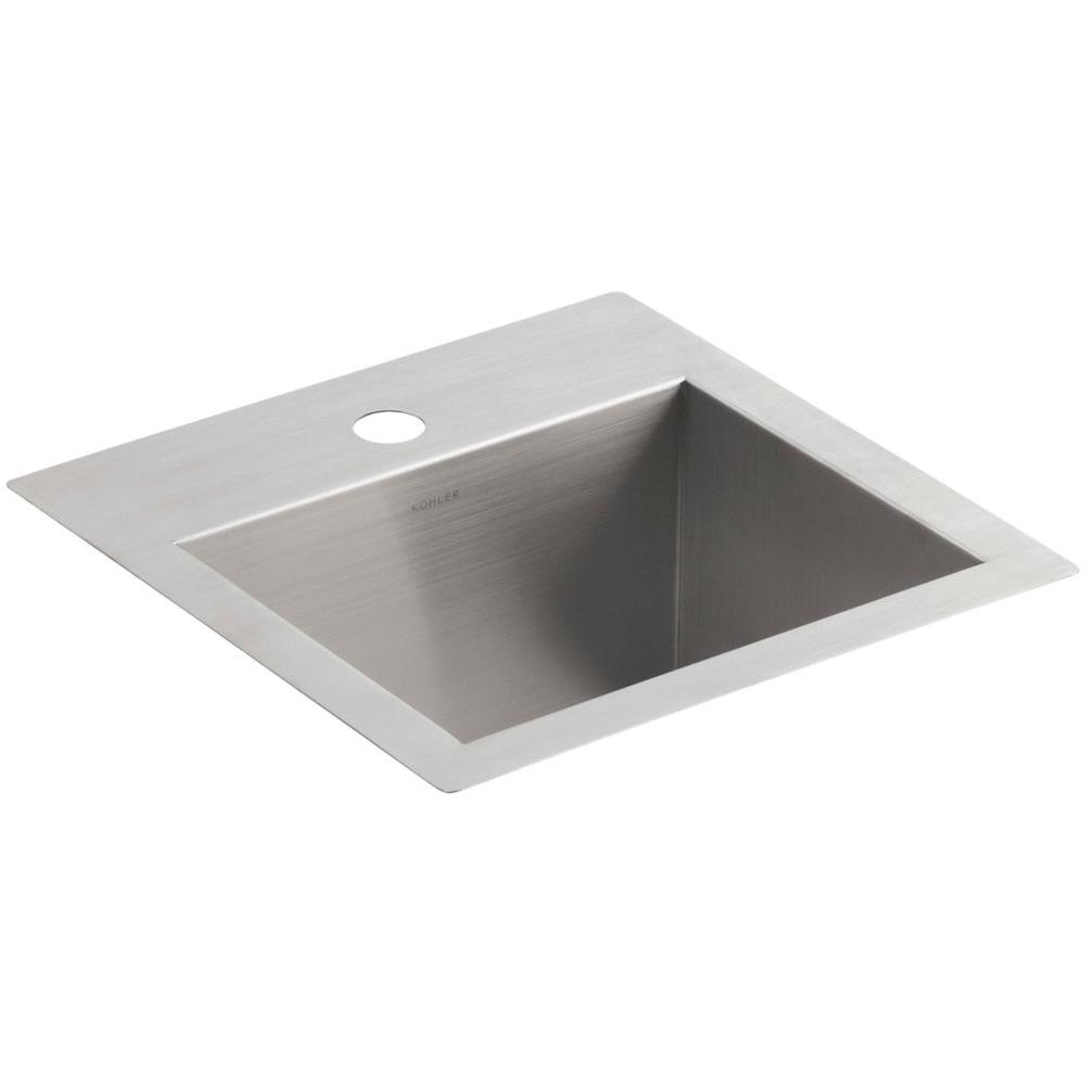 KOHLER Vault 15 in. x 15 in. x 9.3125 in. Stainless Steel Bar Sink