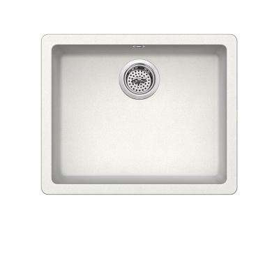 Dual Mount Quartz 21-2/3 in. Single Bowl Kitchen Sink in Alpine White